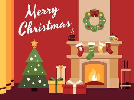 Colorful flat vector illustration the Merry Christmas