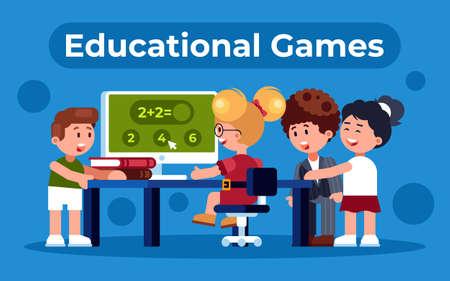 Colourful flat illustration of educational game for children Ilustração