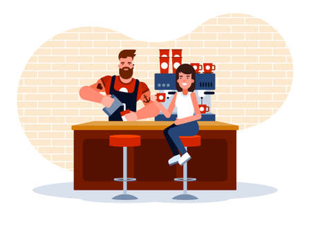 This illustration shows a small coffee shop, a young girl drinks coffee, which the barista prepared for her