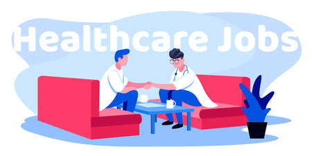 This illustration shows two men in medical uniform sitting on the couch and shaking hands, they are working in the healthcare industry