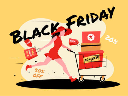 This illustration shows a young girl who is shopping at a sale on Black Friday Ilustração