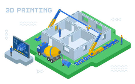 Colourful vector illustration of industrial 3D printing