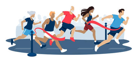 Vector illustration of marathon running, people of different age group and genders