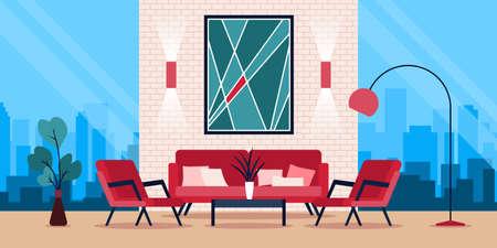 Colourful flat vector illustration of modern interior