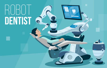 This illustration shows a modern robot dentist who treats teeth to a young man Ilustração