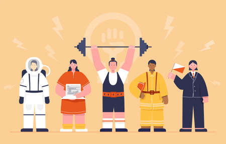 Vector illustration of strong womenin typically male professions