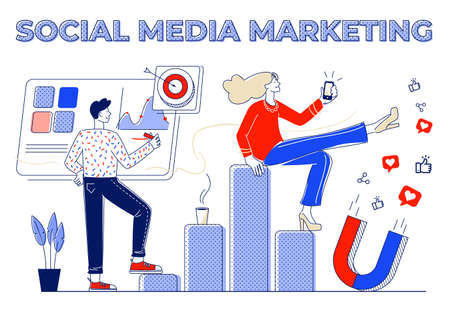 SMM conceptualized flat vector illustrationand and tools for social media marketing