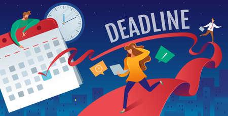 Vector flat illustration of deadline in the calendar Ilustração
