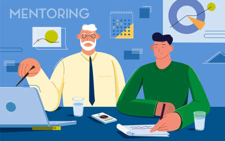 Vector illustration of mentorship and knowledge with a fresh employee
