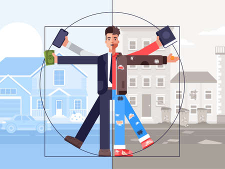 Vector illustration of social inequality and poor at the same time