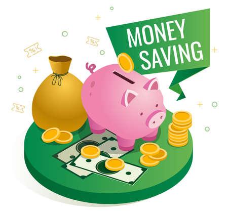 Vector isometric illustration of money saving, shows a cute pink piggy bank Ilustração