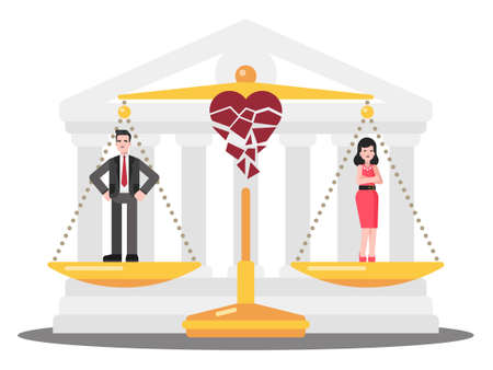 This colorful illustration shows an unhappy man and a woman, the court has legislated a divorce order
