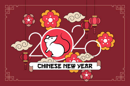 Vector illustration a symbol of Chinese New Year 2020