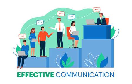 Ilustración de vector de comunicación efectiva dentro de un equipo