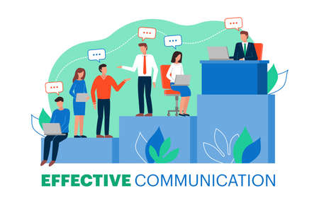Vector illustration of effective communication within a team