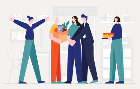This colorful illustration shows an elderly man, he is retiring, his colleagues are seeing him off