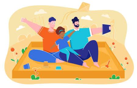 Vector illustration of same-sex parent, taking selfies Ilustração