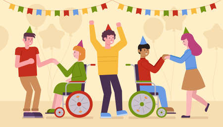 Vector illustration of disabled people partying, since inclusion is an integral part of modern society