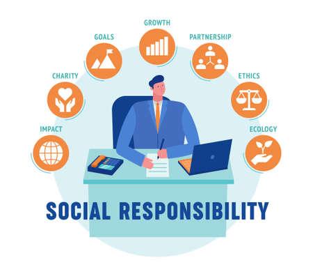 Cette illustration colorée montre un homme d'affaires socialement responsable qui, dans le processus de prise de décision, prend en compte les intérêts de larges groupes sociaux et de la société dans son ensemble