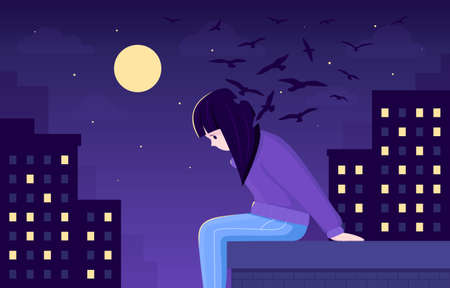 Vector illustration of a girl, who is trying to commit suicide