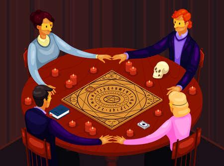 Vector illustration of a secret occult session