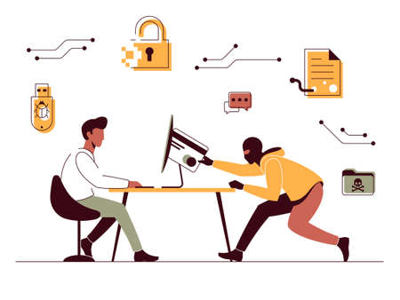 Vector illustration of a hacker who bypasses computer protection