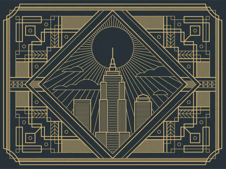 Vector illustration in retro style of Art Deco