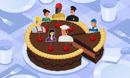 This colorful illustration depicts different professions on a festive cake on the eve of International Workers Day