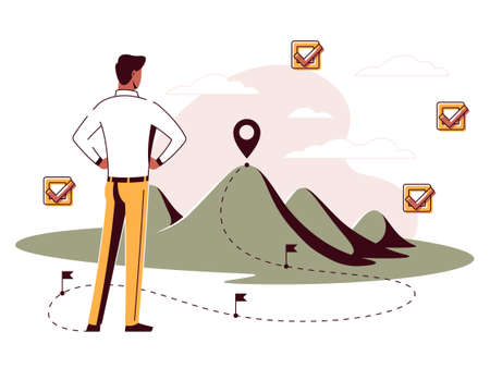 Vector illustration of a roadmap with milestones Ilustracja