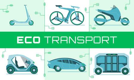 Vector illustration of modern urban ecological transport