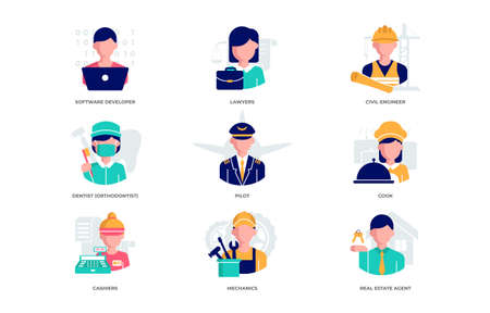 Set of flat design icons depict Software developer, Lawyers, Civil engineer, Dentist orthodontist , Pilot, Cook, Cashiers, Mechanics, Real Estate Agent Vectores