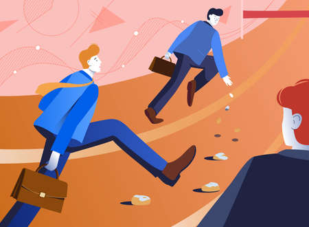 Vector illustration of an unfair competition in the world of business