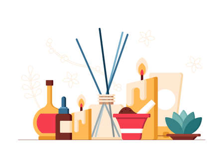 This colorful illustration depicts scented candles and sticks, essential oils and other cosmetics