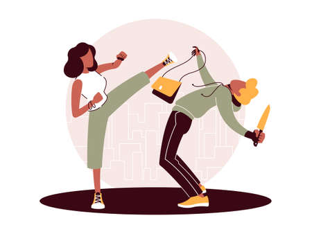 Vector illustration of self-defense against the attack by a criminal Ilustracja