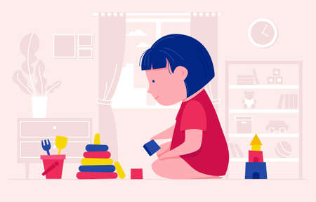 Vector illustration of a cute girl who plays with cubes