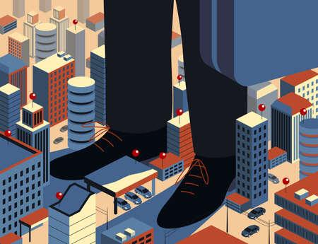 Vector illustration symbolizing monopoly and its influence Ilustracja