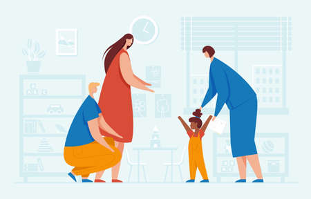 Vector illustration of a family that adopts a child Ilustracja