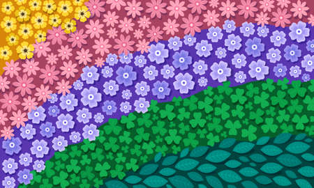 This colorful illustration depicts beautiful colorful flowers and green plants that form a fancy pattern