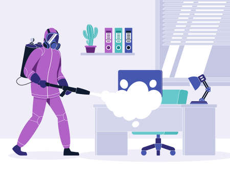 Vector illustration of disinfecting a room during a quarantine