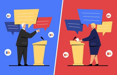 Vector illustration of debate between two politicians Ilustracja