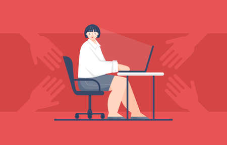 Vector illustration of a woman who was harassed at work
