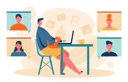 Vector illustration of a young man working remotely from home