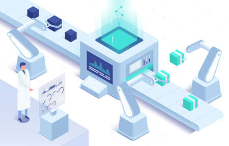 Isometric vector illustration of automation in manufacturing Ilustracja