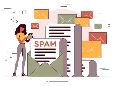 Vector illustration of an unsolicited message, email spam Ilustracja