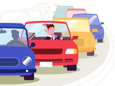 Vector illustration of traffic jam in the city