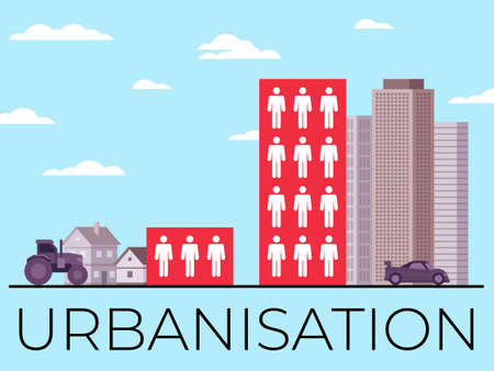 Vector illustration demonstrating urbanization and its consequences