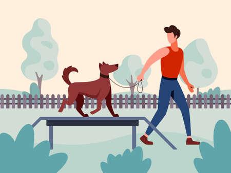 Vector illustration of a dog handler specialist training a dog