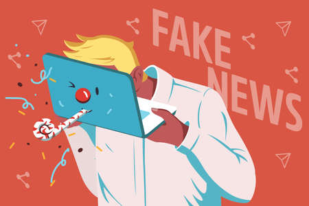 Vector illustration of spreading fake news on the Internet