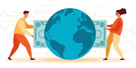 Vector illustration of instant international cash payment