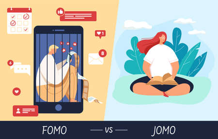 Vector illustration of fomo vs jomo and a young girl who joy of missing out